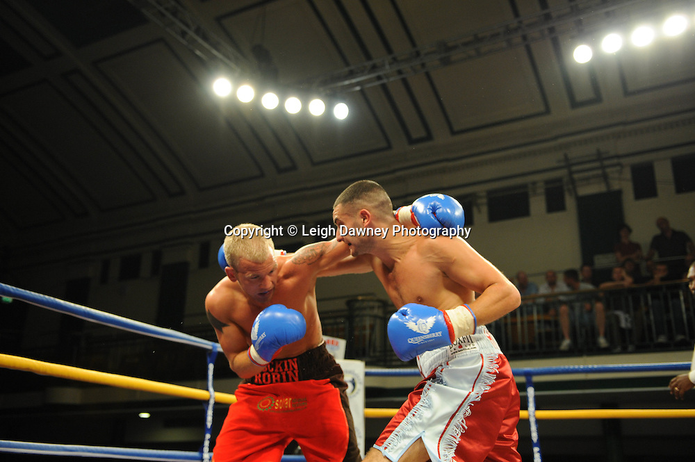 Ediz Hussein (right) defeats Robin Deakin at York Hall, Bethnal Green, London on Friday 30th September 2011. Box Nation.tv's debut live TV Channel 456 on Sky. Photo credit: © Leigh Dawney. Queensberry Promotions.