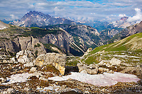 Mountain impression southwest of Tre Cime - Europe, Italy, South Tyrol, Sexten Dolomites, Tre Cime - Afternoon - July 2009 - Mission Dolomites Tre Cime