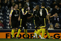 Photo: Rich Eaton.<br /> <br /> West Bromwich Albion v Cardiff City. Carling Cup. 25/09/2007. Cardiff's Jimmy Floyd Hasselbaink (2nd L) scores  to make it 4-0 in the first half and celebrates.