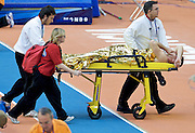 ROMAN SEBRLE (CZECH) INJURED DURING 60 METERS HURDLES RUN OF MAN'S HEPTATHLON  DURING THE 12TH IAAF WORLD INDOOR CHAMPIONSHIPS IN ATHLETICS VALENCIA 2008 AT PALAU VELODROMO LUIS PUIG..VALENCIA , SPAIN , MARCH 09, 2008.( PHOTO BY ADAM NURKIEWICZ / MEDIASPORT )..PICTURE ALSO AVAIBLE IN RAW OR TIFF FORMAT ON SPECIAL REQUEST.