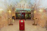 COOBER PEDY, AUSTRALIA - NOVEMBER 11, 2007: Interior of the underground Serbian Orthodox Church in Coober Pedy, Australia.