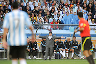 CAPE TOWN, SOUTH AFRICA- Saturday 3 July 2010, Argentinian coach Diego Maradona during the quarter final match between Argentina and Germany held at the Cape Town Stadium in Green Point during the 2010 FIFA World Cup..Photo by Roger Sedres/Image SA