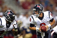 Texans quarterback David Carr (8) gets ready to hand off to fullback Jameel Cook (43) against St. Louis at the Edward Jones Dome in St. Louis, Missouri, August 19, 2006.  The Texans beat the Rams 27-20.