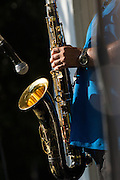 Les Pierce plays the Tenor Sax as Fast Lane Band performs during the Milpitas Summer Concert Series at Murphy Park in Milpitas, California, on July 14, 2015. (Stan Olszewski/SOSKIphoto)