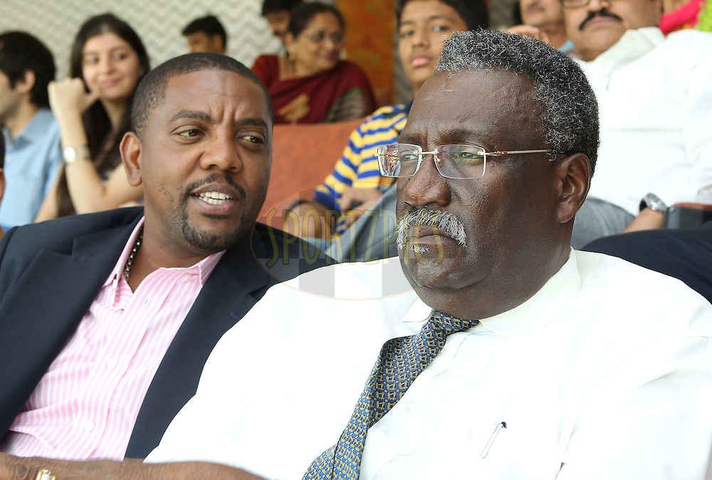Clive Lloyd and Mr Dave Cameron, President WICB,  during day one of the second Star Sports test match between India and The West Indies held at The Wankhede Stadium in Mumbai, India on the 14th November 2013<br /> <br /> This test match is the 200th test match for Sachin Tendulkar and his last for India.  After a career spanning more than 24yrs Sachin is retiring from cricket and this test match is his last appearance on the field of play.<br /> <br /> <br /> Photo by: Ron Gaunt - BCCI - SPORTZPICS<br /> <br /> Use of this image is subject to the terms and conditions as outlined by the BCCI. These terms can be found by following this link:<br /> <br /> http://sportzpics.photoshelter.com/gallery/BCCI-Image-Terms/G0000ahUVIIEBQ84/C0000whs75.ajndY