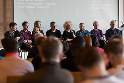 Repro Free: <br /> Pictured here at the Guinness Amplify Music workshop is<br /> Ben Leahy, Playwrite and Publisher; Duncan Silvey, digital Marketing at Music Ally; Jenny Wren, Body and Soul booker; Joe Clarke, manager of the Strypes and Le Galaxie; Angela Dorgan, CEO First Contact Music; Niall Byrne of Nialler9; Brian Adams, Programmer, Today FM; Mark Crossongham, Universal Music Ireland. The workshops provide access for emerging musicians to industry experts who are on hand to share their insights and tips. For more information log onto www.guinnessamplify.com Picture Andres Poveda