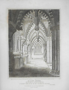Engravings of Scottish landscapes and buildings from late eighteenth and early nineteenth century, Roslyn Chapel, Midlothian, Scotland