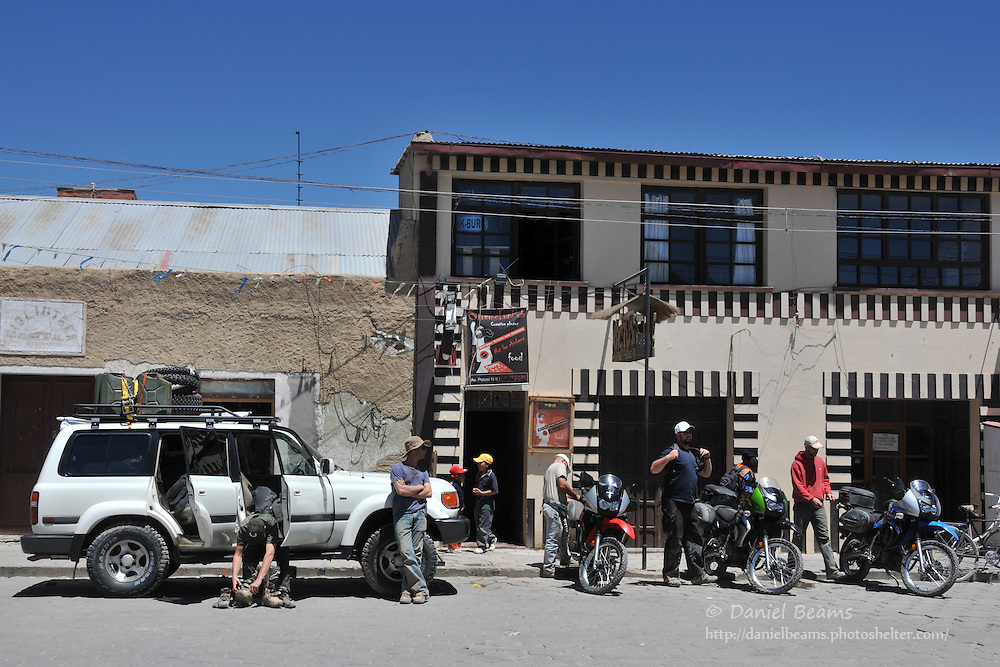Preparing for a motorcycle trip across the Salar de Uyuni, Uyuni, Potosi, Bolivia