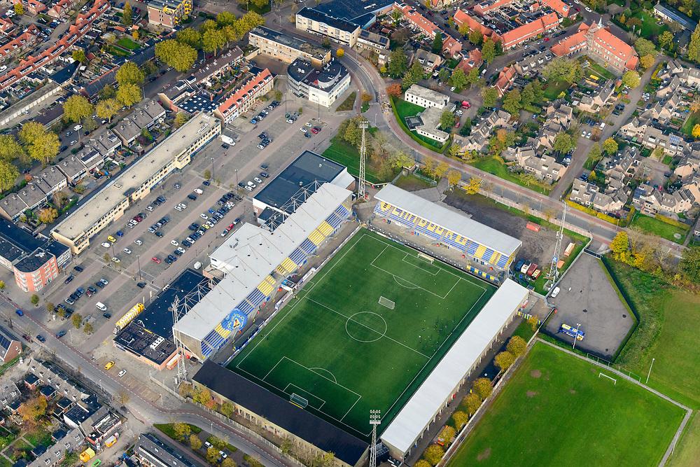 Nederland, Friesland, Leeuwarden, 04-11-2018; stadion Sportclub Cambuur (SC Cambuur)<br /> Cambuur stadium.<br /> luchtfoto (toeslag op standaard tarieven);<br /> aerial photo (additional fee required);<br /> copyright © foto/photo Siebe Swart
