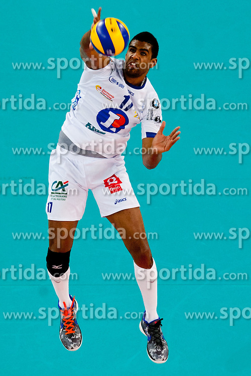 Yosleyder Cala Gerardo of Tours VB during volleyball match between ACH Volley LJUBLJANA (SLO) and  Tours VB (FRA) of 2012 CEV Volleyball Champions League, Men, League Round in Pool F, 6th Leg, on Januar 18, 2012, in Arena Stozice, Ljubljana, Slovenia. (Photo By Matic Klansek Velej / Sportida.com)