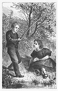 Tom and Maggie Tulliver fishing in childhood 'It was one of their happy mornings'. Illustration by Walter James Allen (active 1859-1891) for an undated 19th century edition of  'The Mill on the Floss' by George Eliot, originally published 1860.