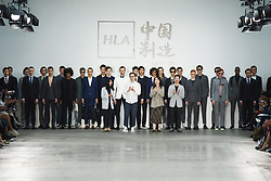 June 8, 2019 - London, England, United Kingdom - Designers thank the public after presentation of a new Spring/Summer 2020 HLA x AEX by JD.COM collection during London Fashion Weak Men's in the old Truman's Brewery show space in London on the June 8, 2019. (Credit Image: © Dominika Zarzycka/NurPhoto via ZUMA Press)