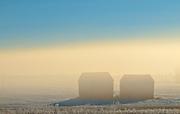 Graneries in morning fog<br /> Prince Albert<br /> Saskatchewan<br /> Canada