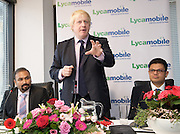 Boris Johnson <br /> Mayor of London <br /> visits Lycamobile Global HQ in Docklands, London, Great Britain <br /> 21st July 2011 <br /> <br /> <br /> Subaskaram Allirajah (Group Chairman)<br /> <br /> Boris Johnson <br /> London Mayor<br /> <br /> Milind Kangle (Group CEO)<br /> <br /> <br /> Photograph by Elliott Franks
