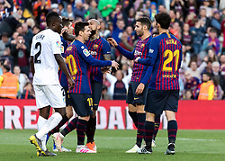 BARCELONA, May 13, 2019  Barcelona's players celebrate their second goal during a Spanish league match between FC Barcelona and Getafe in Barcelona, Spain, on May 12, 2019. FC Barcelona won 2-0. (Credit Image: © Joan Gosa/Xinhua via ZUMA Wire)