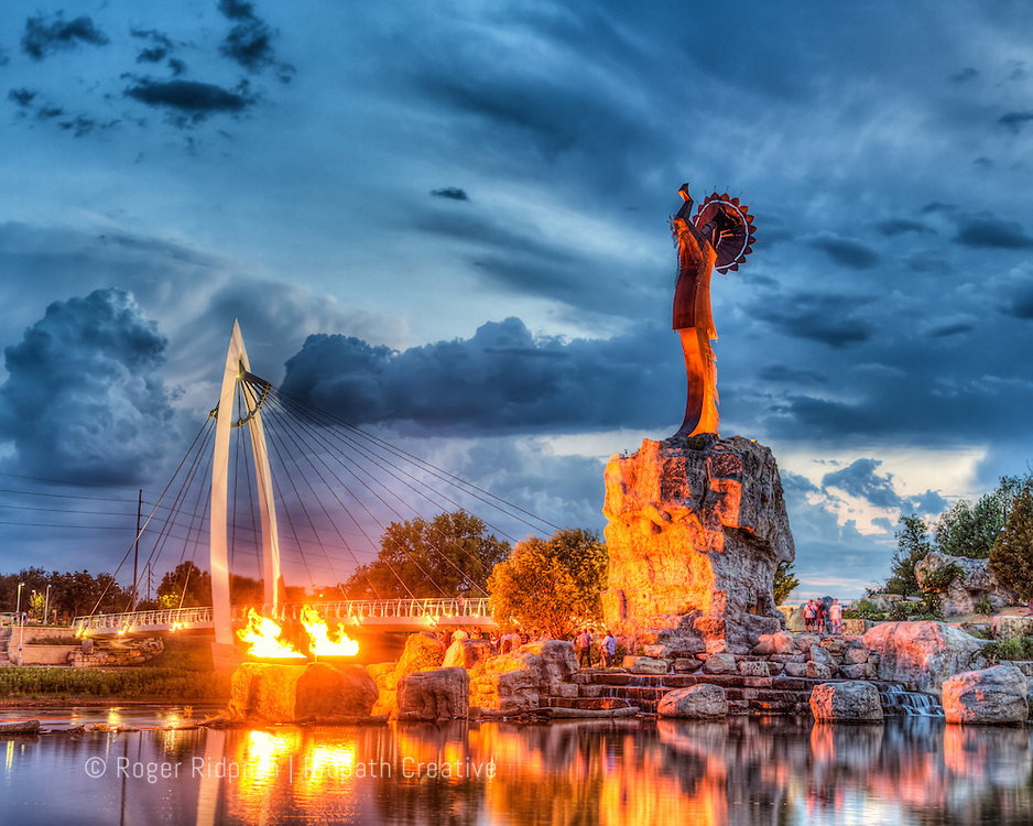 Keeper of the Plains Sunset With Flames Summer Wichita Kansas
