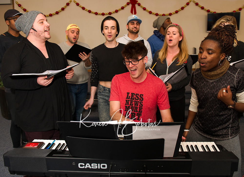 """Patrick Dorow on keyboard in a practice session for the Christmas music extravaganza """"Home for the Holidays"""" to be presented by Interlakes Theater at the Flying Monkey on December 15th-16th.   (Karen Bobotas/for the Laconia Daily Sun)"""