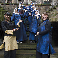The first practising muslim female band, Ulfah Collective from Birmingham, in Edinburgh during the Middle East Festival, february 2006<br />