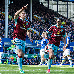 Burnley forward Sam Vokes (9) celebrates scoring from the penalty spot in the Premier League match between Everton and Burnley<br /> (c) John Baguley | SportPix.org.uk