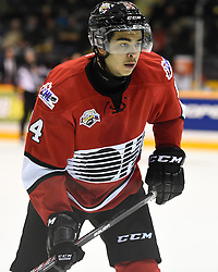 Nick Baptiste of the Sudbury Wolves represented Team OHL in Game 3 of the 2014 SUBWAY Super Series in Peterborough on Thurs. Nov. 13, 2014. Photo by Aaron Bell/OHL Images