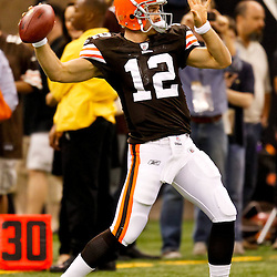 Oct 24, 2010; New Orleans, LA, USA; Cleveland Browns quarterback Colt McCoy (12) during warm ups prior to kickoff of a game against the New Orleans Saints at the Louisiana Superdome. Mandatory Credit: Derick E. Hingle