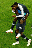 SAINT PETERSBURG, RUSSIA - JULY 10: Samuel Umtiti (L) and Ousmane Dembele of France national team celebrate victory during the 2018 FIFA World Cup Russia Semi Final match between France and Belgium at Saint Petersburg Stadium on July 10, 2018 in Saint Petersburg, Russia. MB Media