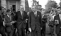 Journalists doorstep British Home Secretary, James Callaghan, right, as he departs Stormont Castle following 28th August 1969 meeting with Ulster Unionist Prime Minister, Major James Chichester-Clark. 196908280243e<br />