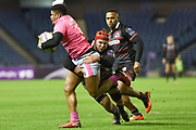 Jonathan Danty is tackeld by Grant Gilchrist during the European Rugby Challenge Cup match between Edinburgh Rugby and Stade Francais at Murrayfield Stadium, Edinburgh, Scotland on 12 January 2018. Photo by Kevin Murray.