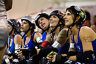 The San Diego Derby Dolls were at the Del Mar Fairgrounds in Del Mar, California on November 08, 2008.  The all-female roller derby league, founded in 2005, features serious competition among skaters with tongue-in-cheek names such as Anita Battle and Isabelle Ringer.
