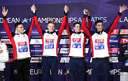 Great Britain's James Guy, Calum Jarvis, Duncan Scott and Thomas Dean with their gold medals after winning the Men's 4 x 200m Freestyle Relay Final during day four of the 2018 European Championships at the Tollcross International Swimming Centre, Glasgow.