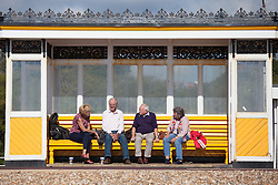 © Licensed to London News Pictures. 02/10/2016. Southsea, Hampshire, UK.  A group of people chatting with each other on Southsea Promenade in the warm and sunny weather on another stunning autumn day. Photo credit: Rob Arnold/LNP