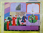 Ezekiel prophesying to the elders of Israel in Babylon. First Babylonian captivity c 600 BC.  One of four great Old Testament prophets of Israel and contemporary with Daniel. 16th century Turkish manuscript. Museum of Turkish Islamic Art, Istanbul