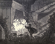 """Every step he nearer set, Oped the eyes of violet."""" Illustration from 'The Sleeping Beauty' by Paul Gustave Doré (1832-1883). The prince about to awaken the Princess from her 100 year slumber with a kiss. From the book Fairy realm. A collection of the favourite old tales. Illustrated by the pencil of Gustave Dore by Tom Hood, (1835-1874); Gustave Doré, (1832-1883) Published in London by Ward, Lock and Tyler in 1866"""
