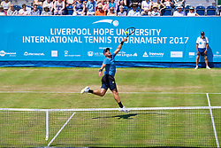 LIVERPOOL, ENGLAND - Saturday, June 17, 2017: Marcus Willis (GBR) during Day Three of the Liverpool Hope University International Tennis Tournament 2017 at the Liverpool Cricket Club. (Pic by David Rawcliffe/Propaganda)
