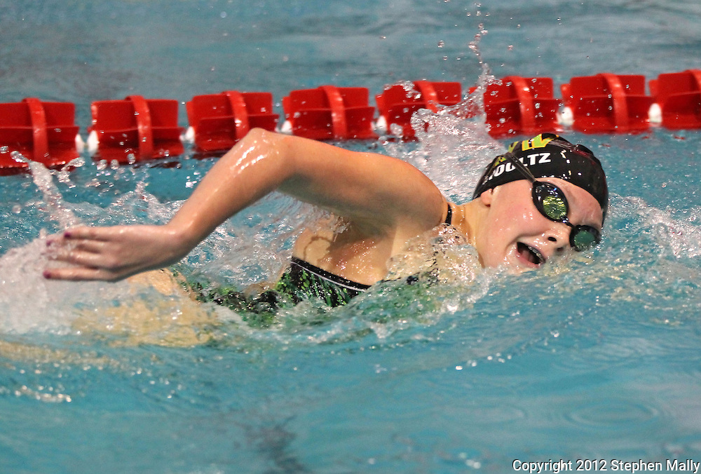 Iowa City West's Natalie Shoultz turns her head for a breath of air in the 500 yard freestyle event during the MVC Girls Swimming Championships at Washington High School in Cedar Rapids on Saturday October 13, 2012. Shoultz placed third in the event with a time of 5:24.55.