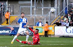 Matt Taylor of Bristol Rovers puts his shot past Artur Krysiak of Yeovil Town but wide of the goal - Mandatory by-line: Robbie Stephenson/JMP - 16/04/2016 - FOOTBALL - Memorial Stadium - Bristol, England - Bristol Rovers v Yeovil Town - Sky Bet League Two