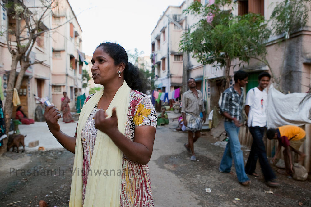 Santhome an activist speaks outside her Tamil Nadu Slum Clearance Board quarters  in Kannagi Nagar in Chennai, India, on Friday, January 14, 2011. Photographer: Prashanth Vishwanathan/HELSINGIN SANOMAT