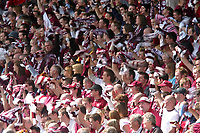Photo: Andrew Unwin.<br />Hearts v Gretna. Tennants Scottish Cup Final. 13/05/2006.<br />Hearts fans cheer on their team and wave their scarves.