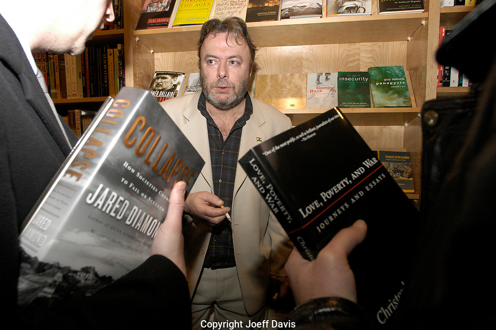 CHICAGO, IL-February 24, 2005: Author Christopher Hitchens holds court at Left of Center Bookstore in Chicago.