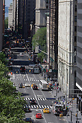 Seen from the roof of a Federal building, an aerial view of Broadway in New York City.