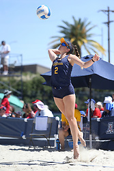 April 7, 2018 - Tucson, AZ, U.S. - TUCSON, AZ - APRIL 07: California Golden Bears Iya Lindahl (2) serves the ball during a college beach volleyball match between the California Golden Bears and the Arizona Wildcats on April 07, 2018, at Bear Down Beach in Tucson, AZ. Arizona defeated California 3-2. (Photo by Jacob Snow/Icon Sportswire (Credit Image: © Jacob Snow/Icon SMI via ZUMA Press)