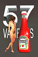 Heinz Ketchup is one of the most iconic brands in modern history. There are very few packaging designs that have maintained such a consistency through the generations. A Heinz ketchup bottle has seen very little change, over the course of the past several decades. This interesting fine art piece brings that famous visual to life. At the same time, this piece also combines that ketchup bottle with the striking visual of a nude woman. She is approaching the bottle, so we can't say for certain what the expression on her face might be. This is truly a piece that is designed to start a conversation.