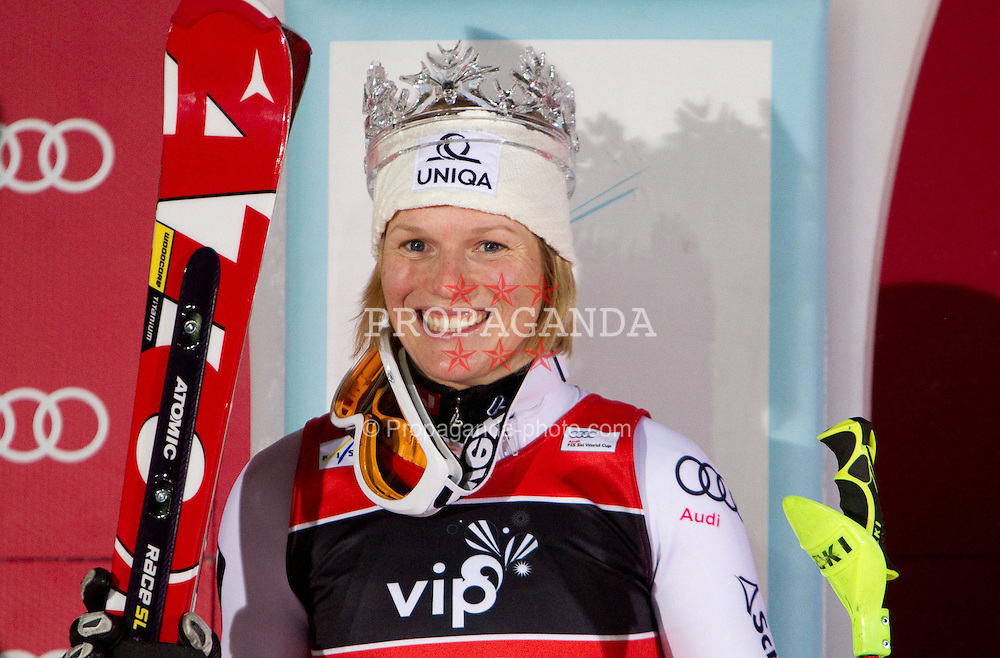 04.01.2011, Snow Queen Trophy, Sljeme, Zagreb, CRO, FIS World Cup Ski Alpin, Ladies, Slalom, at Picture  winner and snow queen SCHILD Marlies (AUT) at flower ceremony, EXPA Pictures © 2011, PhotoCredit: EXPA/ Sportida/ V. Ponikvar *** ATTENTION *** SLOVENIA OUT!