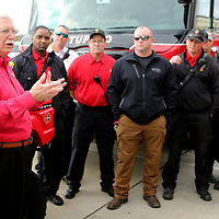 Jim Maxwell, area representative for Firehouse Subs, presents the Tupelo Fire Department with a new UTV vauled at $19,000.00 on Thursday morning at the Firehouse restaurant location in Tupelo.