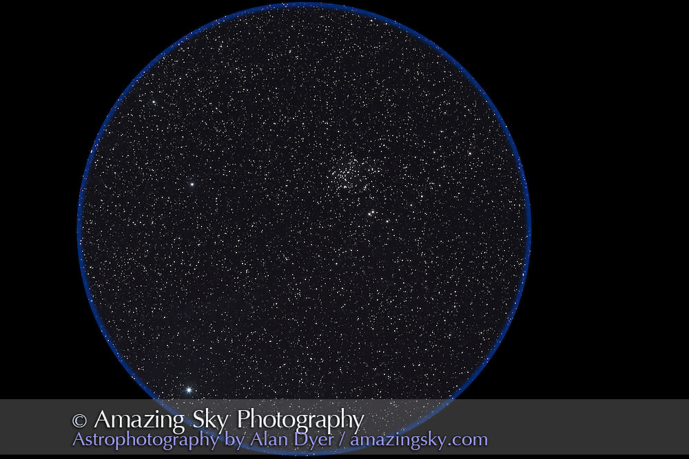 NGC 752cluster in Andromeda, taken Sept. 14, 2007 for stack of 4 x 3 minute exposures with 135mm L-series lens at f/2.8 and Canon 20Da camera at ISO 800. Simulates binocular field.