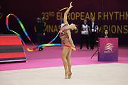 Katrin Tsareva, Bulgaria takes silver on ribbon during the 33rd European Rhythmic Gymnastics Championships at Papp Laszlo Budapest Sports Arena, Budapest, Hungary on 21 May 2017. Photo by Myriam Cawston.