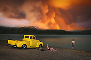 USA, Oregon, Cook County,American Dreamscapes Wildfire, 1953 Chevy