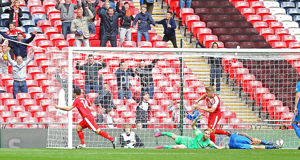 North Shields Adam Forster scores 1-2 during the FA Vase Final between Glossop North End and North Shields at Wembley Stadium, London, England on 9 May 2015. Photo by Phil Duncan.