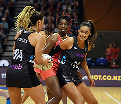 New Zealand's Grace Rasmussen, left, feeds the ball to Maria Tutaia against England in the Taini Jamison Trophy netball series match at Te Rauparaha Arena, Porirua, New Zealand, Thursday, September 07, 2017. Credit:SNPA / Ross Setford  **NO ARCHIVING**