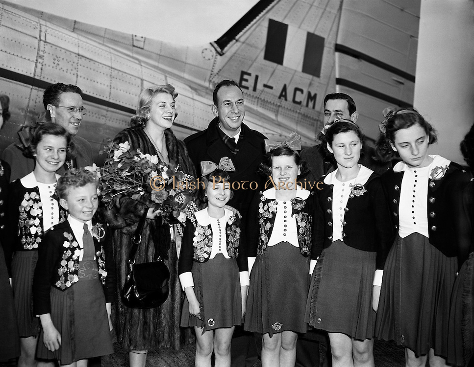 "Film Stars - Rosemary Clooney and Jose Ferrer on a visit to Ireland.22/01/1954..José Vicente Ferrer de Otero y Cintrón (08/01/1912 - 26/01/1992), best known as José Ferrer, was a Puerto Rican actor, as well as a theater and film director. He was the first Hispanic actor to win an Academy Award...Rosemary Clooney (23/05/1928 - 29/06/2002) was an American singer and actress. She came to prominence in the early 1950s with the novelty hit ""Come On-a My House"" which was followed by other pop numbers such as ""Botch-a-Me"", ""Mambo Italiano"", ""Tenderly"", ""Half as Much"", ""Hey There"" and ""This Ole House"", although she had success as a jazz vocalist. Clooney's career languished in the 1960s, partly due to problems related to depression and drug addiction, but revived in 1974, when her White Christmas co-star Bing Crosby asked her to appear with him at a show marking his 50th anniversary in show business. She continued recording until her death in 2002. She is the aunt of Academy Award winning actor George Clooney.."